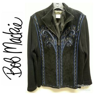 Bob Mackie-Wearable Art Suede Embroidered Jacket-M